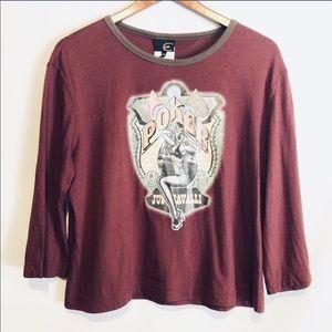 Just Cavalli Bordeaux T shirt sz 53 US Large NWT